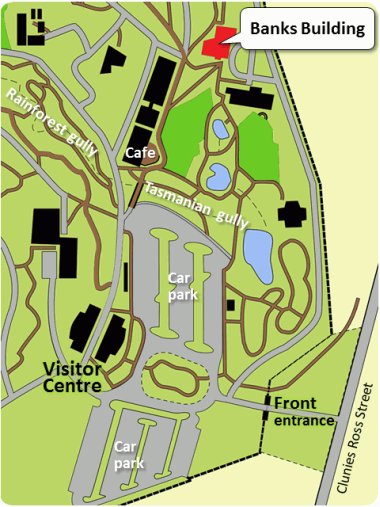 Map of the Gardens showing the Banks building