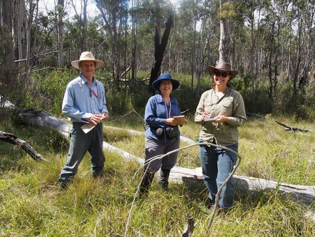 John Fitz Gerald, Jeanette Jeffery and Lydia Guja collecting Smokers Flat. Image S. Fyfe ANBG