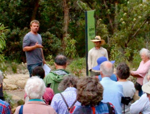 David Taylor providing information to gathered Friends of the Gardens
