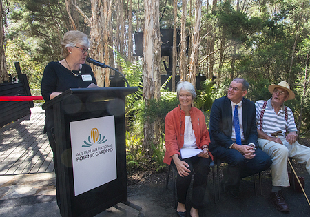 Lesley Jackman, Judy West and Matt Cahill speak at the opening (Photo: Bill Hall)