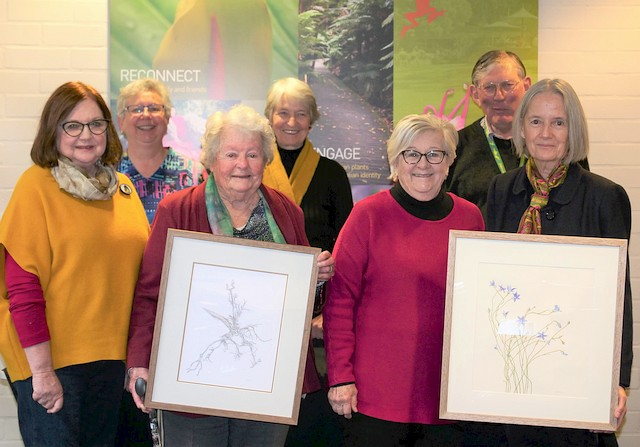 Celebrating Botanic Art; the artists, Susan Spiller and Marjorie Roche, with other BAG members (Jann Ollerenshaw, Wendy Antoniak, Kate Ramsey), Dr Judy West and Neville Page