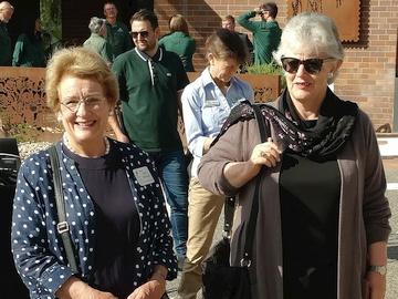 Linda Beveridge and Lesley Jackman at the opening