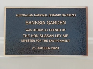 Plaque marking the opening of the Banksia Garden