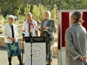 Dr Judy West, the Minister, and former Friends President Max Bourke answer questions after the unveiling
