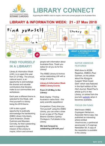 Cover of Library Connect newsletter, May 2018