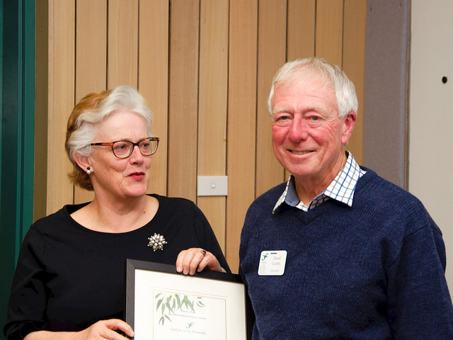 Newly-awarded Life Member David Coutts with Lesley Jackman, AGM 2018. Photo: Brian Moir