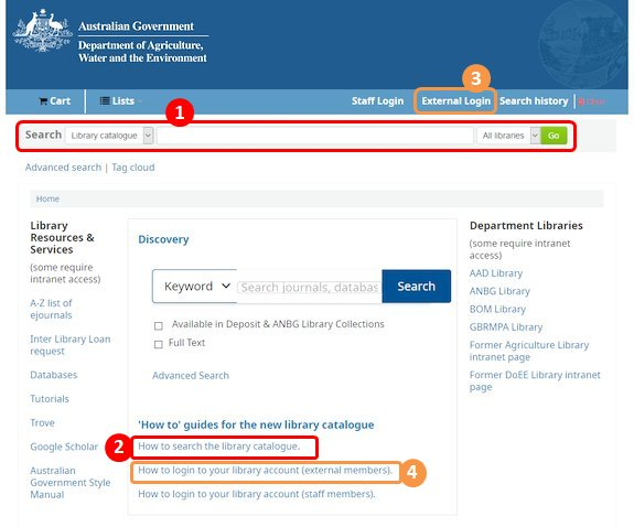 Screen image of library main page