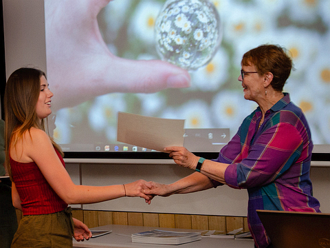 Awarding prizes for the 2018 competition - Tasha Nerrie with Helen McFadden