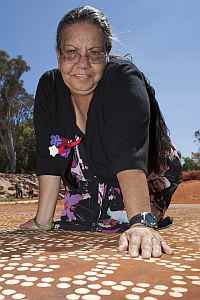 Artist Teresa Purla with 'Grandmother's Country' (Photo: Peter Byron)