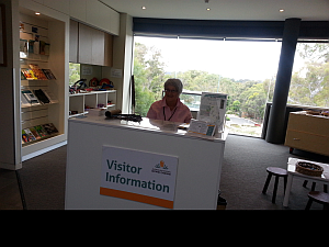 Wendy Antoniak at the new Visitor Information Desk      Photo: Jill More